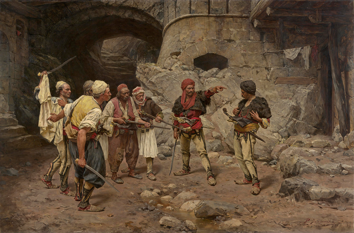 Paul JOANOWITCH born Serbia 1859, died Austria 1957, worked throughout Europe 1885–1957, Egypt, Turkey and Russia 1886–95 The traitor 1885–90 oil on canvas 100.4 x 150.5 cm National Gallery of Victoria, Melbourne Purchased, 1890